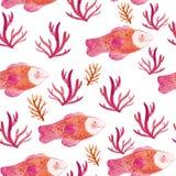 Картина акварели безшовная с рыбами и морскими водорослями Стоковые Фотографии RF
