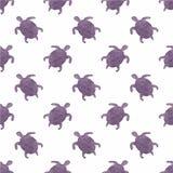 Картина акварели безшовная с черепахами на Стоковые Изображения RF