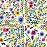 Картина акварели безшовная с pansies Стоковые Изображения RF
