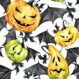 Картина акварели безшовная, тыквы с leafes и крыла летучей мыши Иллюстрация праздника хеллоуина еда смешная волшебство Стоковая Фотография
