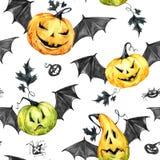 Картина акварели безшовная, тыквы с leafes и крыла летучей мыши Иллюстрация праздника хеллоуина еда смешная волшебство Стоковое Изображение RF