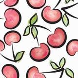 Картина акварели вишни безшовная Сочная предпосылка лета ягод иллюстрация штока