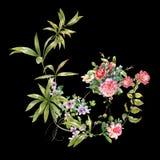 Картина акварели выходит и цветок, на темную предпосылку Стоковые Фотографии RF