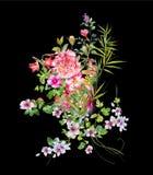 Картина акварели выходит и цветок, на черную предпосылку Стоковое Изображение