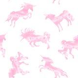 Картина акварели единорога розовая Стоковая Фотография RF