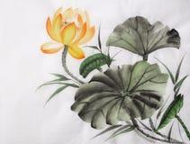 Картина акварели желтого цветка лотоса Стоковое Изображение RF