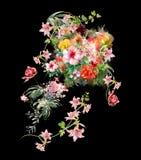 Картина акварели листьев и цветка Стоковое Фото