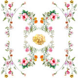 Картина акварели лист и цветков, безшовной картины на белой предпосылке Стоковые Фото