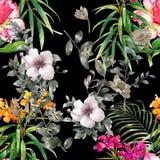Картина акварели лист и цветков, безшовной картины Стоковое фото RF