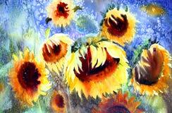 Картина акварели красивых солнцецветов бесплатная иллюстрация