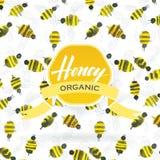 Картина акварели пчелы меда Стоковые Изображения