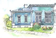 Картина акварели старого деревянного дома Стоковые Изображения