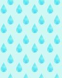 Картина акварели с голубым падением воды Стоковые Фото