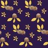 Картина акварели с печеньями и листьями Стоковое Изображение