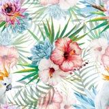 Картина акварели с попугаем и цветками Стоковые Изображения