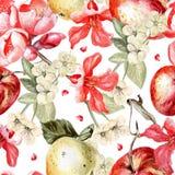 Картина акварели с яблоками и цветками Иллюстрация штока