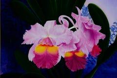 Картина акварели флористическая безшовная с цветками орхидеи Стоковые Изображения RF