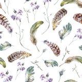Картина акварели флористическая винтажная безшовная с Стоковое Фото
