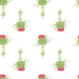 Картина акварели цветка чертополоха безшовная Стоковое Изображение