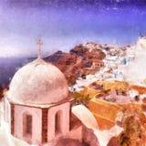 Картина акварели церков Fira цифровая Стоковое Изображение