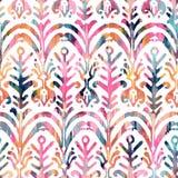 Картина акварели Ikat безшовная Флористический живой watercolour Стоковая Фотография RF