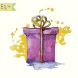 Картина акварели illustrat вектора подарочной коробки иллюстрация вектора