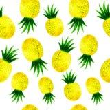 Картина ананаса акварели безшовная на белизне бесплатная иллюстрация
