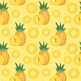 Картина ананаса безшовная Ананас отрезает бесконечную предпосылку, текстуру Fruits предпосылка также вектор иллюстрации притяжки  Стоковая Фотография