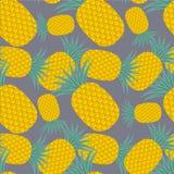 Картина ананаса безшовная на голубой предпосылке Плоский элемент дизайна дизайна стоковое изображение rf