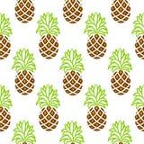 Картина ананаса зеленая и коричневая безшовная вектора Стоковые Изображения