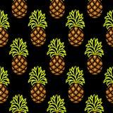 Картина ананаса зеленая и коричневая темная безшовная вектора Стоковые Изображения RF