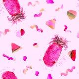 Картина ананаса Печать лета экзотическая Стоковое фото RF