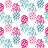 Картина ананаса розовая и голубая безшовная вектора Стоковая Фотография