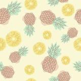 Картина ананаса шаржа безшовная Продолжая линия чертеж Безшовная иллюстрация ткани Дизайн для поздравительной открытки и invitati иллюстрация штока