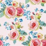 Картина английских роз безшовная Иллюстрация вектора