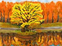 картина ландшафта осени Стоковое Изображение