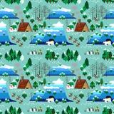Картина ландшафта темы рождества безшовная Стоковое фото RF