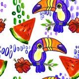 Картина арбуза Toucan безшовная Стоковое Изображение RF