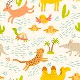 Картина африканских животных шаржа безшовная Милый леопард, трубкозуб, верблюд, антилопа, птицы, черепаха Стоковое Изображение RF
