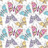 картина бабочек безшовная Стоковое Изображение RF