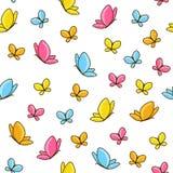 картина бабочек безшовная Стоковые Фотографии RF