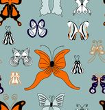 Картина бабочек лета притяжки руки безшовная. Стоковые Изображения