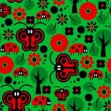 Картина бабочек и ladybirds иллюстрация вектора