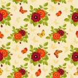 картина бабочек флористическая безшовная Стоковые Изображения RF