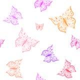 картина бабочки безшовная Орнаментальная нарисованная рука сделала эскиз к красочной изолированной иллюстрации вектора, на белой  Стоковая Фотография RF
