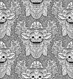Картина балийской маски doodle Barong бога льва безшовная Стоковые Изображения RF