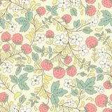 Картина барбариса безшовная флористическая текстура с ягодами Стоковое Изображение