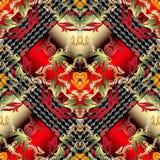 Картина барочного вектора вышивки 3d флористического безшовная Руки grunge штофа орнамент густолиственной вычерченный Предпосылка иллюстрация штока