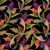 Картина барочной вышивки безшовная Цветки гобелена красочные, Стоковое Фото