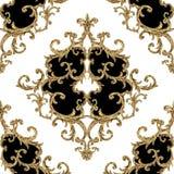 Картина барочных золотых элементов орнаментальная безшовная Текстура элемента золота руки акварели вычерченная на белой предпосыл бесплатная иллюстрация